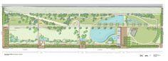 Railroad Park Birmingham AL plan rendering Tom Leader Studio Birmingham News, Architectural Signage, Directional Signage, Linear Park, Kiosk Design, Trail Maps, Master Plan, Urban, How To Plan