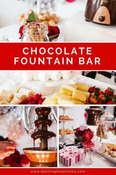 The Best Chocolate Fountain Bar! - Dazzling Hospitality Chocolate makes everything better! Allow Dazzling Hospitality to show you how to execute your own chocolate fountain bar. Includes a FREE printable list of food ideas to dip at Chocolate Shop, How To Make Chocolate, Best Chocolate, Delicious Chocolate, Homemade Chocolate, Chocolate Desserts, Chocolate Fountain Machine, Chocolate Fountain Recipes, Chocolate Fondue Fountain
