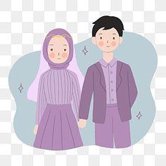 Wedding Illustration, Illustration Mode, Couple Illustration, Illustration Fashion, Bride And Groom Cartoon, Wedding Couple Cartoon, Anime Muslim, Muslim Hijab, Wedding Scene