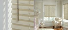 Concider horizontal blinds using the finest woods, wood alternatives and aluminum - http://www.hunterdouglas.com/horizontal-blinds/parkland-classics