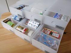レギュラー文房具収納で 無印良品 の[ 小物収納ボックス6段 ] の使い勝手が良かったので医薬品の収納もコレで行けそう!とトライしてみました。こどもは以前...