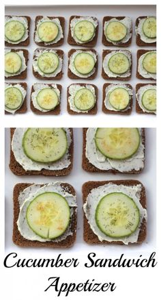 Appetizers for a crowd Finger Food Tea Sandwiches 69 Ideas - Best Appetizers, Finger Foods, Party Snacks ♥ Cucumber Appetizers, Appetizers For A Crowd, Cucumber Recipes, Healthy Appetizers, Appetizer Recipes, Cucumber Dill Sandwiches, Cucumber Juice, Appetizers For Christmas, Fancy Party Appetizers