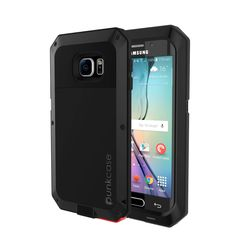 Galaxy S6 EDGE Case, PUNKcase Metallic Black Shockproof  Slim Metal Armor Case