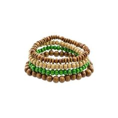 NOVICA Four Brown and Green Wood Beaded Bracelets from Guatemala ($20) ❤ liked on Polyvore featuring jewelry, bracelets, beaded, clothing & accessories, wood, wooden beads jewellery, handcrafted beaded jewelry, brown bangles, handcrafted beaded jewellery and green bangles