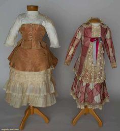 TWO GIRL'S SILK BUSTLE DRESSES, 1880s