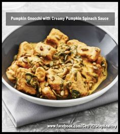 Pumpkin Gnocchi with Creamy Pumpkin Spinach Sauce ~ Need help? Let's connect! Email me with a list of your goals and lifestyle to getfit2stayhealthy@gmail.com or go to facebook.com/GetFit2StayHealthy and connect with me there! #GetFit2StayHealthy #21DayFix #SideDish #Entree