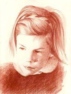 Portrait d'Agnès à la sanguine.