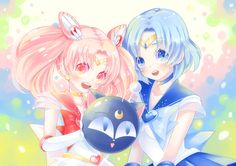 Sailor Chibi Moon and Sailor Mercury also Luna P ちびあみ by kou* on pixiv