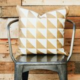 Our gold foil triangle 20x20 pillow cover with a zipper sewn in at the bottom. All of our pilllows are...
