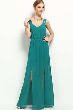 Teal maxi dress with double shoulder straps