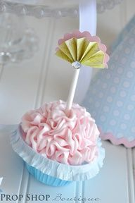 Beautifully designd velvety pink adult birthday cupcake,decorated with little paper fans in it.its sweet and simple. 32 Birthday, Tea Party Birthday, Birthday Cupcakes, Birthday Ideas, Cupcake Party, Cupcake Cakes, Cupcake Ideas, Cup Cakes, Cupcake Collection