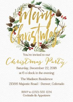 Rustic Gold Wreath Christmas Invitation