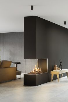 Haus Stage the fire and make your three-sided gas fireplace the unmistakable center of your living s Painted Brick Fireplaces, Gas Fireplace, Architecture Old, Architecture Details, Concept Home, Living Spaces, Living Room, Design Awards, Hearth