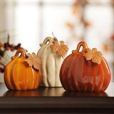 Ceramic Pumpkins, Set of 3 | Kirklands We could also cut lids by slicing around the pumpkins, just under the leaves; the same way you make a jack-o'lantern.