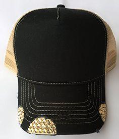 3153d363079 Black Cap Women s Trucker Hat Khaki Mesh Back With Gold S... https