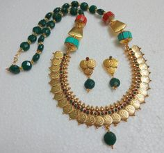 Indian Temple Jewelry Set Coin Necklace & Earrings by uDazzle