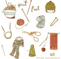 CLIP ART - Knit Purl - for commercial and personal use