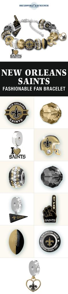 Get the good times rolling with this officially-licensed New Orleans Saints women's charm bracelet. Packed with 16 unique charms, it makes the perfect expression of your NFL team pride. Go Saints!