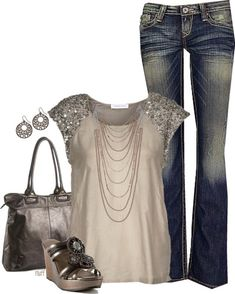 t-shirt and jeans ...taken up a notch. Love the jeans. Fun!