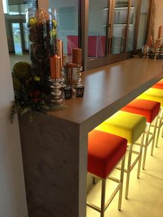 sports-themed kitchen all made from precast concrete / concrete