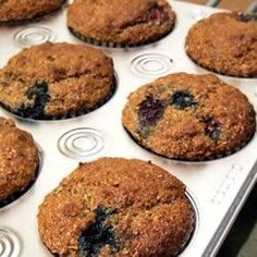 Bran muffins are made with bran cereal, apple, banana, honey, and plump raisins.