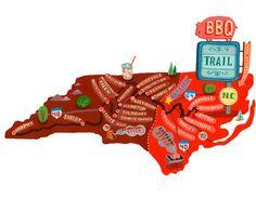 North Carolina BBQ Road Trip Route