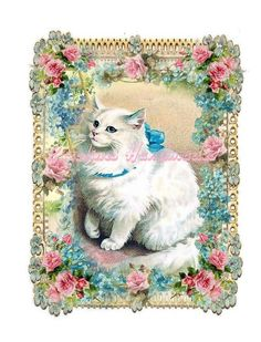 """Vintage Cat #20 Collage Cotton Fabric Quilt Block (1) @ 5X7"""" on 8.5X11"""" Sheet #YOURSTRULY"""