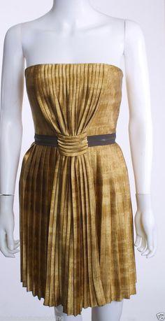 VERA WANG LAVENDER LABEL STRAPLESS EMPIRE WAIST ZIP BELT PLEATS GOLD DRESS SZ 02 #VeraWangLavender #EmpireWaist