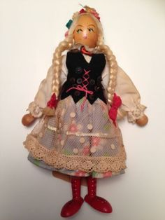 "Vintage Gromada Doll Polish 9"" Poland Girl Blonde Braids Signed Wooden Wood 