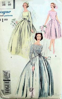 Beautiful 1950s Wedding Gown or Bridesmaid Dress Pattern Bateau Style Neckline, Deep V Back Very Full Skirt Vogue Special Design 4967
