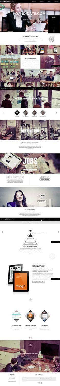 Online Department 7 May 2013 http://www.awwwards.com/web-design-awards/online-department #webdesign #inspiration #UI #BigBackgroundImages #ResponsiveDesign #CSS3 #Fullscreen #UnusualNavigation #Black #Silver #White
