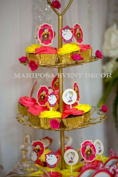 Mariposa Event Decor 's Birthday / Belle / Beauty and the Beast - Photo Gallery at Catch My Party Beauty And The Beast Party, Belle Beauty And The Beast, 32 Birthday, 6th Birthday Parties, Birthday Ideas, Christening Themes, Cupcake Display, Cupcake Flavors, Beautiful Cupcakes