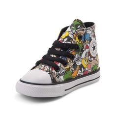 Complete their look with the iconic style of the new Chuck Taylor All Star Hi Looney Tunes Sneaker from Converse! These crazy-cool Looney Tunes Chucks sport a high-top design, constructed with a soft canvas upper with allover graphics of your favorite Looney Tunes characters, and signature Chuck Taylor logo patch.