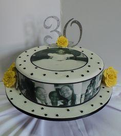 Black and white themed 30th birthday cake