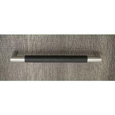 Norma Handtag - Rostfritt Stål / Svart Läder - Beslag Design
