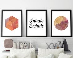 Set of 3 Prints, Inhale Exhale, Art Print Set, Yoga print set, Sacred Geometry, Zen art, Boho art, Yoga art, Downloadable Prints, Printable by UrbanEpiphanyPrints on Etsy