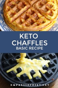 Keto Chaffles Recipe With just 2 carbs per waffle these keto chaffles (cheesy waffles) are an easy choice for breakfast or any time with sweet and savory options. Come get the printable recipe. Low Carb Keto, Low Carb Recipes, Easy Keto Recipes, Diet Recipes, Freezer Recipes, Freezer Cooking, Recipes Dinner, Cooking Tips, Recipies