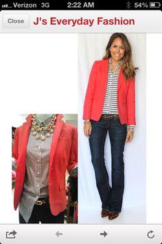 Striped top/coral blazer/jeans