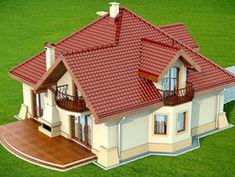 Wizualizacja DN Modena CE House Roof Design, Two Story House Design, Village House Design, Home Building Design, Simple House Design, Bungalow House Design, Modern House Design, Building A House, Small House Layout