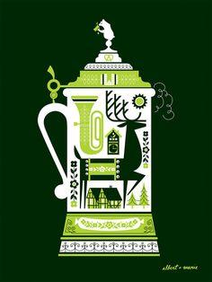 "Husband/wife duo Albert + Marie just released this lovely beer-themed art print. ""DeerStein"""