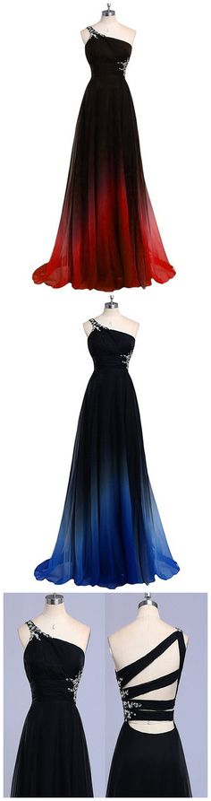 Women's Gradient Color Prom Dresses Chiffon Beaded Evening
