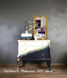 New Simple DIY Furniture Makeover and Transformation Diy Furniture Cheap, Dark Wood Furniture, Painting Wooden Furniture, Painted Bedroom Furniture, Furniture Styles, Repurposed Furniture, Furniture Makeover, Furniture Design, Furniture Ideas