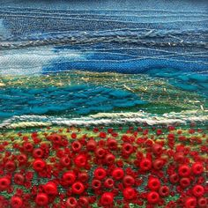 Poppy field  Fabric art card  Beaded and by StitchMikki on Etsy, $6.00