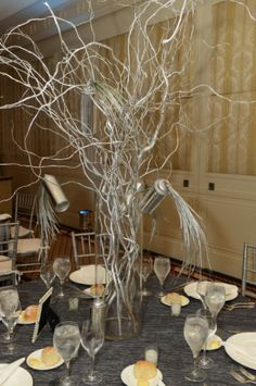 Urban chic centerpiece for a Bar Mitzvah from United Floral