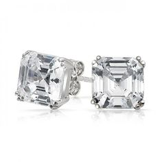 Bling Jewelry Mens CZ Square Asscher Cut Stud Earrings 925 Sterling Silver 9mm