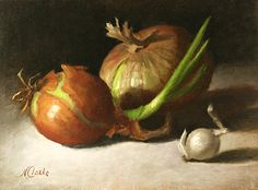 "Still life with Onion - 3 by Natalia Ivan Clarke Oil ~ 6"" x 8"""