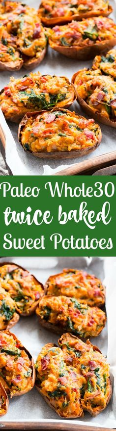 These twice baked sweet potatoes can be served as a healthy meal or side dish - your choice! They're packed with a savory mixture of caramelized onions, spinach and bacon and baked to perfection. They're family approved, #Paleo, #Whole30 compliant, and #dairy-free. #sweetpotato #recipe #recipe #clairekcreations