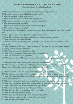 Brendan Burchard recently posted these interview questions, I thought they would be good not just gor asking our parents but our grandparents, and even ourselves when documenting our families for future generations to read over in time Journal Questions, Life Questions, This Or That Questions, Good Interview Questions, Good Questions To Ask, Facebook Questions, Relationship Questions, Relationship Struggles, Couple Questions