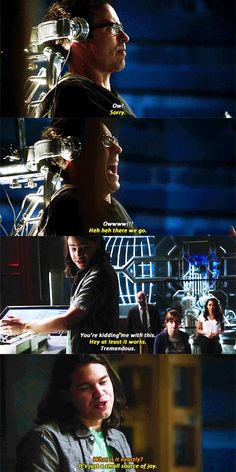 """""""It's just a small source of joy"""" - Cisco, Wells, Caitlin, Iris and Joe The Cw Shows, Dc Tv Shows, Supergirl Dc, Supergirl And Flash, Cisco Ramon The Flash, Flash Funny, Flash Tv Series, Flash Barry Allen, The Flash Grant Gustin"""