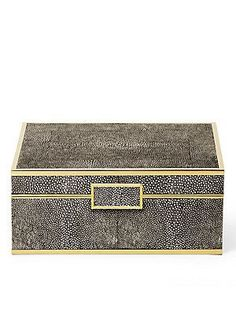 AERIN Shagreen & Brass Jewelry Box - No Color